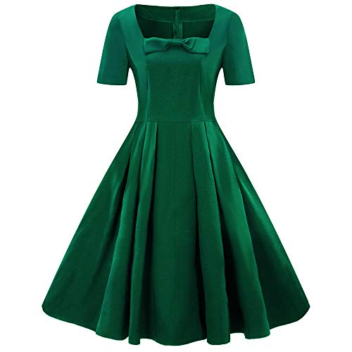 (Hepburn-Stil Partykleid Mode A-Linie Panel Kleid Kurze Ärmel Vintage Abendkleid Bowknot Swing Dress Resplend Plus Size Schlanke Abend Party Cocktailkleid)