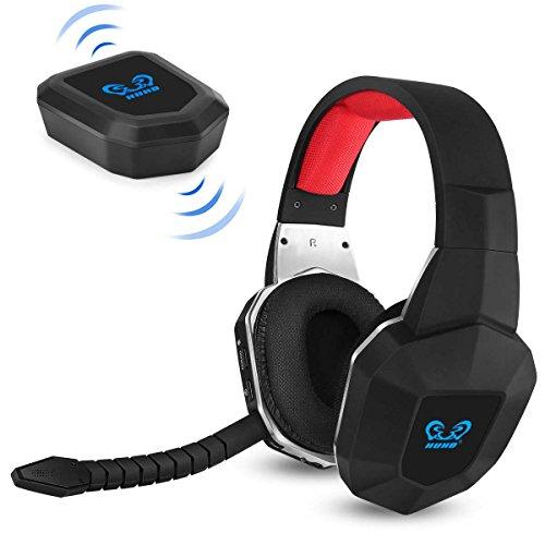 HUHD Wireless Stereo Gaming Headset 2,4 GHz Optical Game Kopfhörer mit 7.1 Surround Sound für PS4 Xbox One PS3 Xbox 360 PC MAC Laptop Tablets Skype Abnehmbarer Mikrofon wiederaufladbarer Akku