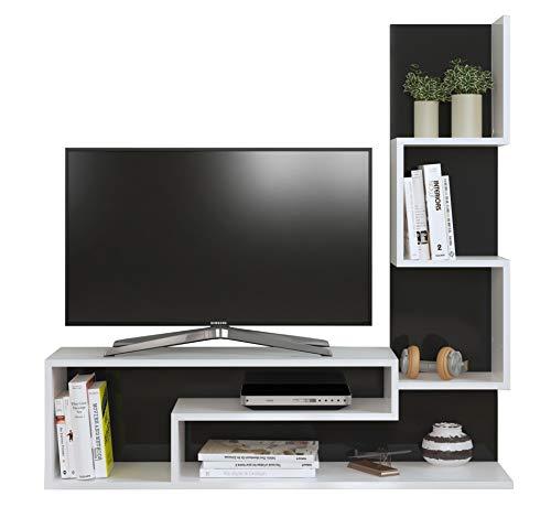 MIMOSA Ensemble de meubles de salon - Blanc (brillant) / Noir - Meuble TV dans es couleurs brillantes avec étagères en moderne design
