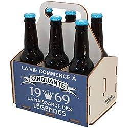 Porte-bouteilles de bière en bois, pack de 6 bières, panier de 6, panier pour six bières, anniversaire 50 ans, cadeau d'anniversaire 50 ans, 50ème anniversaire, anniversaire homme 50 ans, 1969