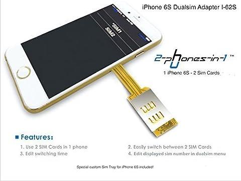 2-phones-in-1 2in1-i62s Dual Sim Adapter I-62S inklusive Case für Apple iPhone 6S (Sim For Iphone)
