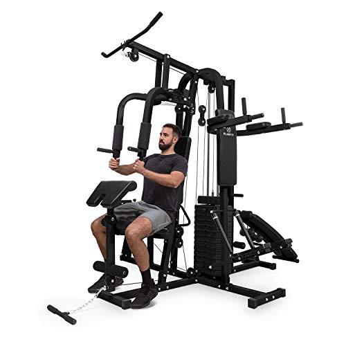 Klarfit Ultimate Gym 9000 Kraftrainings-Station: Diptower, Negativbank, Stepper, Curlstation, Beinpresse, Bruststation & Latzug (mehr als 100 Übungen, für 2 Personen gleichzeitig, max. 150kg) schwarz