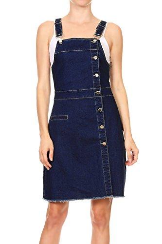 Anna-Kaci Damen Lässig Blau Slim Denim Knopf Overall Jeansskirt Jeansrock Minirock Verstellbar Träger Latzrock Rock Kleid