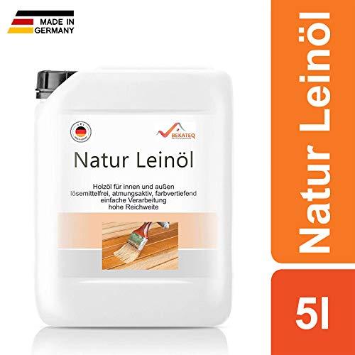 5L Natur Leinöl Innen und Außen - Für Gartenhaus, Fenster, Türen - 100% Bio Holz Ölen Holzschutz Holzöl Holzpflegeöl