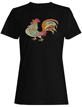 Hermosa mano dibujada gallo étnico camiseta de las mujeres g312f