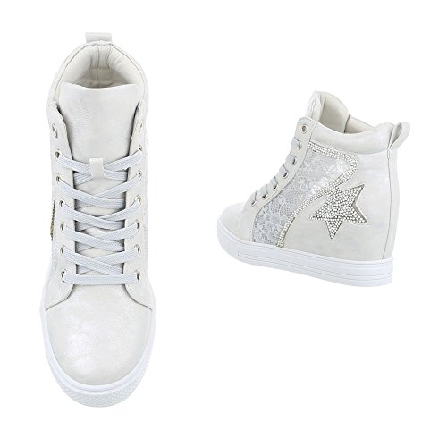 Scarpe da donna Sneaker zeppa Sneakers high Ital-Design Silber JK-53