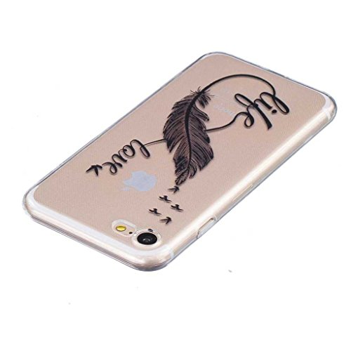 Boxtii® Cover per iPhone 7[con salvaschermo in vetro temperato in omaggio], in TPU ultra sottile, antigraffio, assorbimento degli urti, guscio di protezione per Apple iPhone 7, motivo: bocca di leone #2 Feather