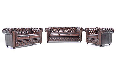 Original Chesterfield Sofas und Sessel -1/ 2 / 3 Sitzer – Vollständig Handgewaschenes Leder – Antik Braun