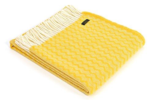 Zig Zag pura lana manta - amarillo
