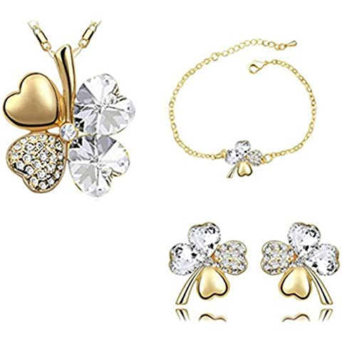 SaySure – Bañados en oro 18 K Crystal Crystal Jewelry Sets Gold White