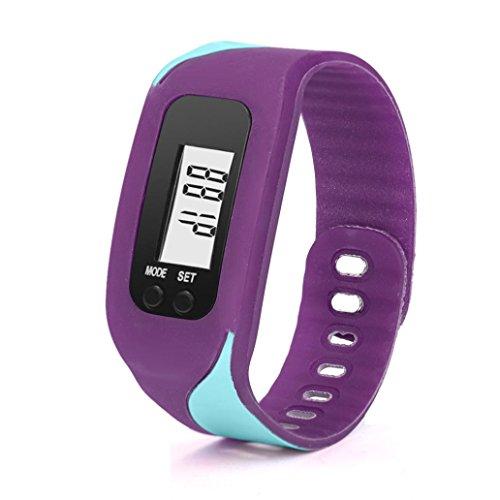 Activity Tracker, ihee digitale LCD pedometro Run Passo contatore Walking Distanza Calorie Calcolo Braccialetto Orologio da polso Activity Tracker, donna Uomo, C6, Purple, 4.5 x 3.4 x 2.2cm