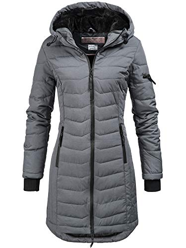 Sublevel Damen D5193U44138A Winter Steppmantel Kapuze Übergangs Jacke Parka Wintermantel Winterjacke Dark Grey (FreshMade) M