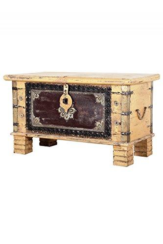 Orientalische Truhe Kiste aus Holz Chayma 80cm groß | Vintage Sitzbank mit Aufbewahrung für den...