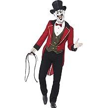 Chaqueta Smiffys siniestro jefe de pista del traje incluye colas / Mock Shirt / Máscara con sombrero de copa (M, Rojo y Negro)