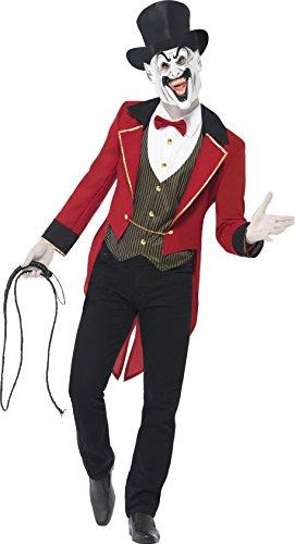 Kostüm Unheimlicher Zirkusdirektor Rot und Schwarz mit Jacke Hemdteil Maske , (Jacke Kostüm Zirkusdirektor)