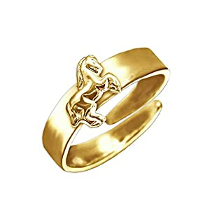 Clever Schmuck Vergoldeter Kinder Ring Universalgröße mit Pferd springend glänzend STERLING SILBER 925 gold plattiert