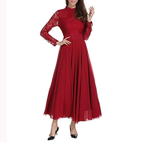 NPRADLA 2018 Herbst Winter Damen Kleid Chiffon Formale Abendgesellschaft Ballkleid Prom Spitze...
