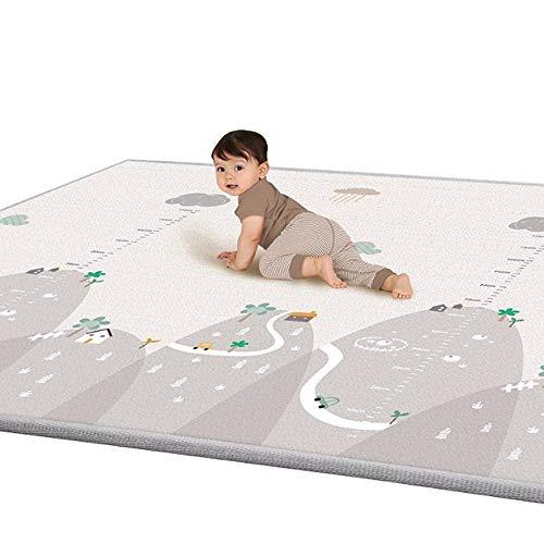 *Blanketswarm Kinder Spielmatte, Krabbelmatte, ungiftig, dick, doppelseitig, wasserfest, aus Seide, LDPE-Bodenmatte für Babys, Kleinkinder, 189,9 x 180,3 cm, extra groß*