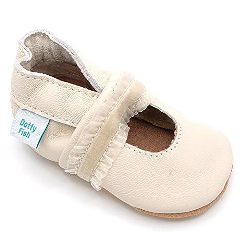 Chaussures de bébé en cuir souple à Crème conception Baptêmes, Dotty Fish filles - 0-6 Mois