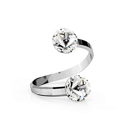 Crystals & Stones Ring *RIVOLI* 8 mm *Viele Farben* Doppelt Kristall - 925 Silber Ring - Sterling Silber Damen Ring Größe verstellbar...