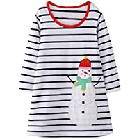 uBabamama Autumn Sale!!! Christmas Stripe Princess Dress for 2-8 Years Toddler Kids Baby Girl Cartoon Elk Snowman Pullover Dress Outfits(White,7-8 Years)