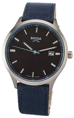 Boccia Herren Analog Quarz Uhr mit Leder Armband 3614-02
