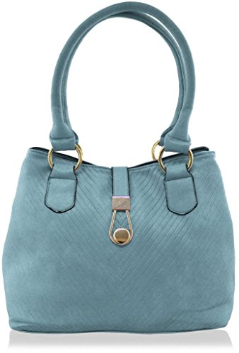 KUKUBIRD GROOVES FAUX LEATHER DESIGNER TOTE MEDIUM SIZE HANDBAG SKY BLUE