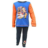 Fireman Sam Childrens/Toddlers Boys Saving The Day Snuggle Fit Long Pyjamas (4-5 Years) (Blue/Orange)
