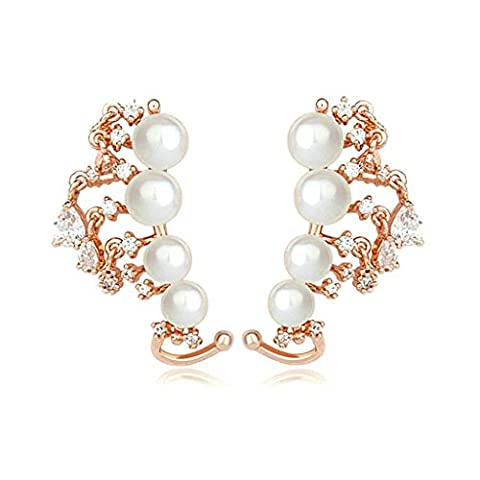 Bishilin Gold Plated Womens Stud Earring 3 Prong White CZ 4 Pearl Earrings