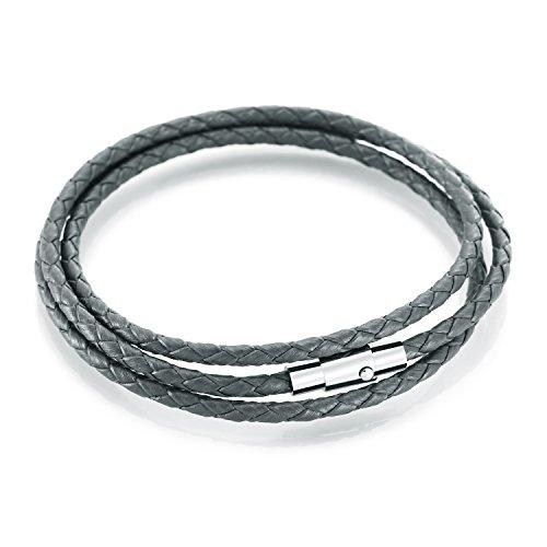 Lederband Armbänder MANBARA Geflochtene Echte Leder-Armbänder Für Männer Frauen Mit Edelstahl Magnetverschluss Charm Bracelet (Grau)
