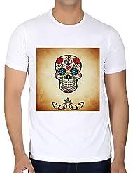 Camiseta Cuello Redondo para Hombre - Halloween Horror Cráneo Asustadizo by Grab My Art