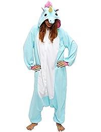 Pijama de Animal - Pijama Kigurumi - Pijamas de Unicornio con Capucha para Adultos - Ropa de Dormir y Traje de Disfraz de Animal para Festival de Carnaval y Halloween (S, Azul)