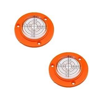 50x9mm Orange/Black Flanges Mini spirit level bubble round with Mounting Holes Color mini round Level Frame Bullseye (2 Pack, Orange)