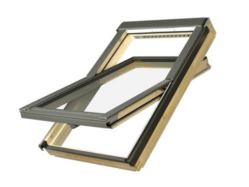 66 x 98 - FAKRO FTP - Schwingfenster Holz FTP-V U3 mit Dauerlüftung und EDR für Dachziegel