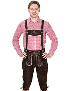 SYMPHONIE WESTERWALD Premiumlederhose, Trachtenlederhose mit Trägern, original in dunkelbraun, Oktoberfest, Größe...