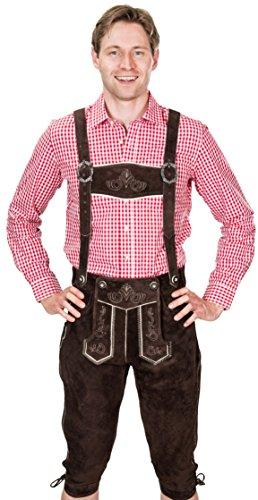 Premiumlederhose, Trachtenlederhose mit Trägern, original in Dunkelbraun, Oktoberfest, Größe 50