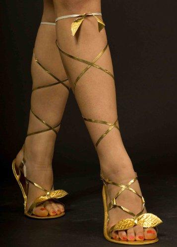 La Grecia antigua o romana diosa oro sandalias estilo con una envoltura alrededor de filamentos con hojas de oro adjuntos. Un tamaño será aproximadamente un Reino Unido tamaño 5-6.