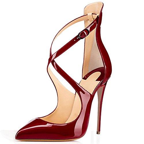 elashe Damen Knöchelriemchen Pumps,Spitze Zehen Stiletto Hohe Absatz Schuhe mit Schnallechzeit Schuhe Wine EU36