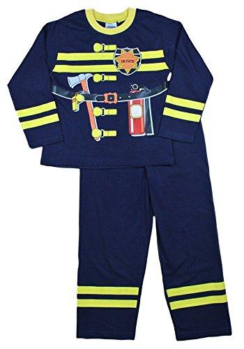 Niedliche Feuerwehrmann Kostüm - Cool Pyjama/Kostüm Feuerwehrmann, 2, 3, 4, 5 und 6 Jahren