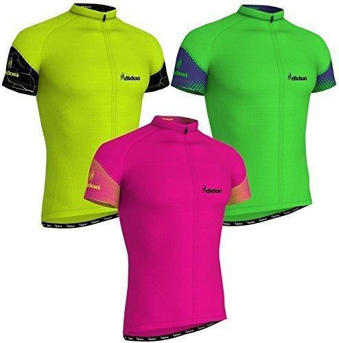 Didoo Herren Kurzärmel Radsport Trikots Reiten T-Shirt Sport Rennrad Oberteile - Rosa, X-Large