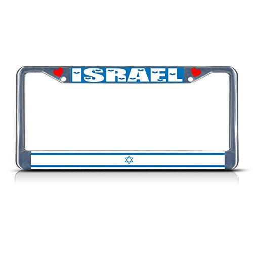 Metall-Kennzeichenrahmen, Motiv: Flagge der israelischen Länderflagge, 2 Löcher, perfekt für Männer und Frauen, Auto-Garadge Dekor Fiesta Blue Plate