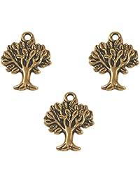 10pcs Antiguos árboles De Oro Colgantes Del Encanto De La Joyería Que Hace Bricolaje