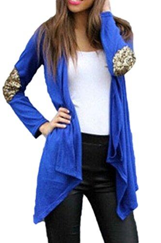 Le Donne Sono Semplici A Maniche Lunghe Scialle Collare Mosaico Sequince Aperto Fronte Cardigan Blue