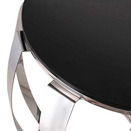 Pharao24 Sofa Beistelltisch in Silberfarben und Schwarz Trommelform
