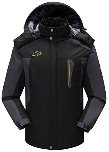 JIINN Herren Wasserdicht Berg Winterjacke Mäntel Outdoor Warm Dick Bequem Parka Vlies Ski Winddicht...