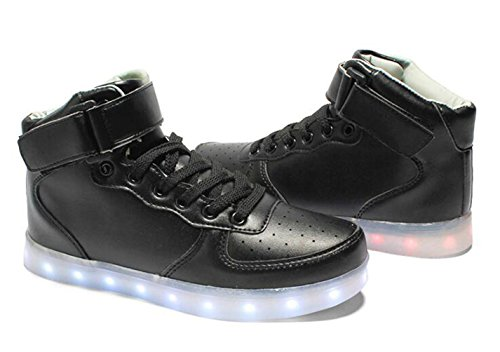 Brinny High-Top Lignes USB Changer 7 couleurs Clignotant LED Lighting Hommes Femmes Chaussures Sneakers pour Prom Party Noir