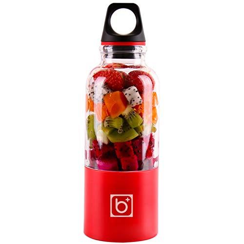HDH Tragbare Mini Haushalts Entsafter Sojamilch Große Kapazität Fleischwolf Mixer Elektrische Saft Tasse multifunktions Entsafter Wasserkocher Kleine Wiederaufladbare Gemüsesaft (Farbe : Red)