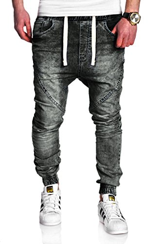 MT Styles Jogg-Jeans RJ-2089 Hose [Dunkelgrau, W32/L32]