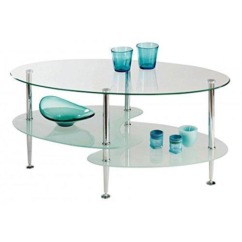 Estense – Table Basse Verre – Plan Cristal trempé Transparent – 9351 – 00