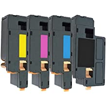 Set of 4 Compatible Laser Toner Cartridges for Dell 1250, 1250c, 1350, 1350cn, 1350cnw, 1355, 1355cn, 1355cnw, C1760, C1760nw, C1765, C1765nf, C1765nfw, C17XX | Print Yield: 2,000 Pages (Black) & 1,400 Pages (Colours)